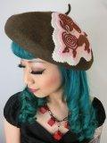 Handmadeモチーフ プードルベレー帽 カーキ