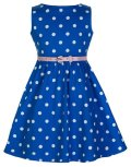 ☆Lindy Bop☆Children's Audrey Pastel Blue Polka Party Dress 5〜6歳用