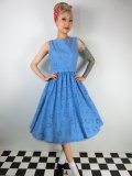 ☆Lindy Bop☆Blondelle Blue Embroidered Swing Dress 9号