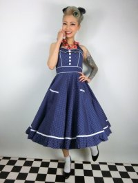 ☆HELL BUNNY☆ Vanity Dress Navy/White 9号