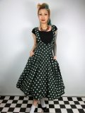 ☆Collectif☆Mary Polka Dot Flock Swing Skirt Green 9号
