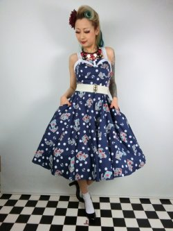 画像2: ☆HELL BUNNY☆Oceana 50s Dress Navy 9号