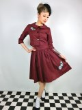 ☆Lindy Bop☆Martha Mae Burgundy Floral Embroidered Twin Set 11号