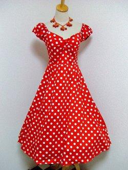 画像1: ☆Collectif☆Dolores Doll Dress Polka - Red 15号
