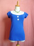 SOURPUSS ☆ Beki Top - Blue/White Dots(S)9号