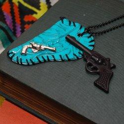 画像1: CHARCOAL DESIGNS Showdown - Western Gun & Holster Necklace Blue