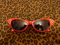 画像1: Cat Eye Shades - Red