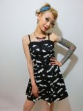 ☆HELL BUNNY☆ Bat Mini Dress Black/White 11号