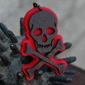 CHARCOAL DESIGNS Lost At Sea - Skull & Bones Necklace RED