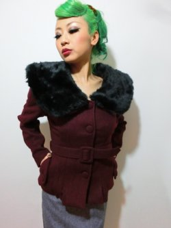 画像2: ☆Collectif☆Geraldine Jacket Burgundy 7号