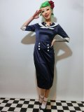 ☆HELL BUNNY☆ Sandra Dee Dress Navy/Ivory 11号