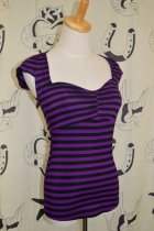 他の写真2: SOURPUSS ☆  VAVAVOOM TOP BLACK/PURPLE STRIPES SizeS 9号
