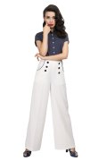 ☆Collectif☆ Bernadette Sailor Trousers White  15号