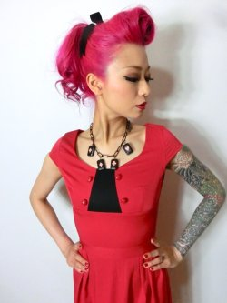 画像4: ☆Lindy Bop☆Mercy Tea Dress Red 7号