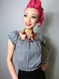 画像3: ☆Collectif☆Renie Gypsy Gingham Cropped Top Black 11号