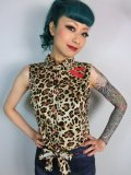 ☆Collectif☆Tara Cherry Leopard Tie Blouse 15号