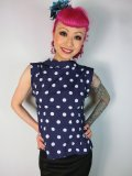 ☆HELL BUNNY☆ Dotty Blouse Navy 13号