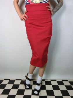 画像2: ☆Collectif☆Fiona Skirt Plain - Red 15号