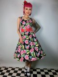 ☆Lindy Bop☆May Hawaiian Hibiscus Floral Dress Black 9号