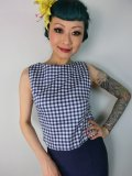 ☆Collectif☆Eleonora Gingham Top Navy 9号