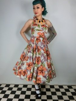 画像2: ☆HELL BUNNY☆Kaila 50s Dress Flower Print 9号