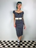 ☆Collectif☆Dolores Dress Polka Blue/White 11号