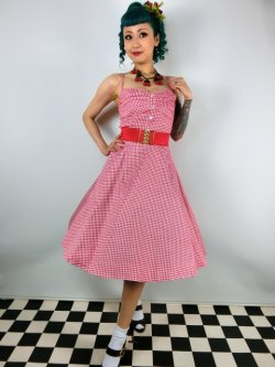 画像1: ☆Collectif☆Fairy Picnic Gingham Doll Dress Red/White 15号