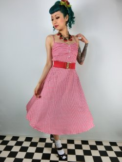 画像2: ☆Collectif☆Fairy Picnic Gingham Doll Dress Red/White 15号