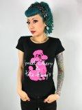 チェリハニプリント☆Tシャツ・ブラック×ピンクプードル Size S