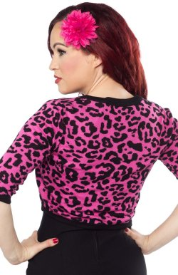 画像4: SOURPUSS ☆LEOPARD CROPPED CARDIGAN PNK  13号
