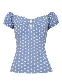 画像3: ☆Collectif☆Dolores  Vintage Polka Dot Top-Dusky Blue 11号