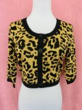 SOURPUSS ☆LEOPARD CROPPED CARDIGAN MUSTARD  11号