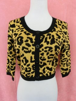 画像1: SOURPUSS ☆LEOPARD CROPPED CARDIGAN MUSTARD  15号