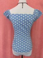 他の写真3: ☆Collectif☆Dolores  Vintage Polka Dot Top-Dusky Blue 11号