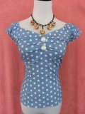 ☆Collectif☆Dolores  Vintage Polka Dot Top-Dusky Blue 11号