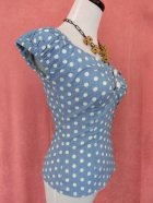 他の写真2: ☆Collectif☆Dolores  Vintage Polka Dot Top-Dusky Blue 11号