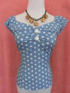 他の写真1: ☆Collectif☆Dolores  Vintage Polka Dot Top-Dusky Blue 11号