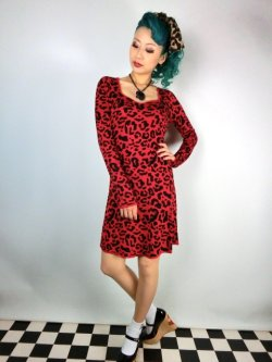 画像1: SOURPUSS ☆ RED LEOPARD SWEATER DRESS  11号