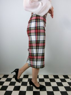 画像2: ☆HELL BUNNY☆Jodie Pencil Skirt White Tartan 13号