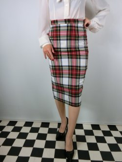 画像1: ☆HELL BUNNY☆Jodie Pencil Skirt White Tartan 13号