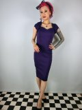 ☆Collectif☆Regina Bengaline Pencil Dress Purple 11号
