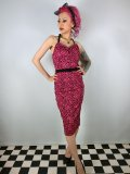 ☆Collectif☆Ginger Leopard Print Flock Pencil Dress 7号