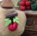 CHARCOAL DESIGNS Retro Handmade Cherry Novelty Brooch Blown