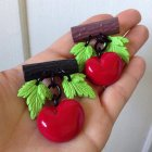 他の写真1: CHARCOAL DESIGNS Retro Handmade Cherry Novelty Brooch Blown