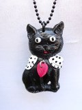 CHARCOAL DESIGNS Black Black Retro Cat  Necklace