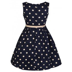画像2: ☆Lindy Bop☆Children's Audrey Navy Polka Party Dress 3〜4歳用