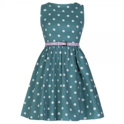画像1: ☆Lindy Bop☆Children's Audrey Green Polka Party Dress 5〜6歳用