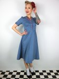 ☆Lindy Bop☆Ionia Sea Blue Polka Dot Tea Dress 11号