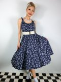 ☆HELL BUNNY☆Marin 50s Dress Navy 13号