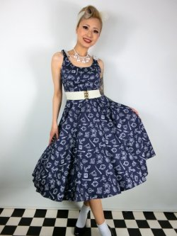 画像1: ☆HELL BUNNY☆Marin 50s Dress Navy 11号